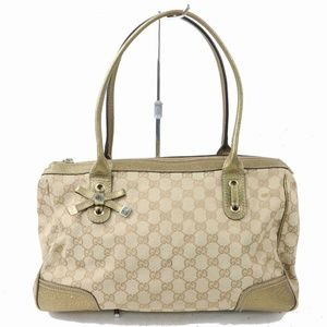 Authentic Gucci Hand Bag Light Brown Canvas 267187
